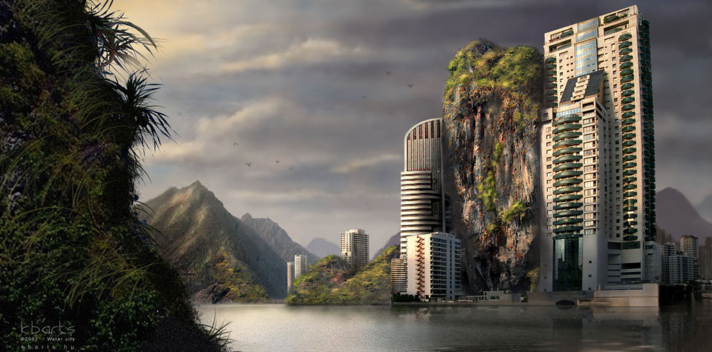 water-city-matte-painting